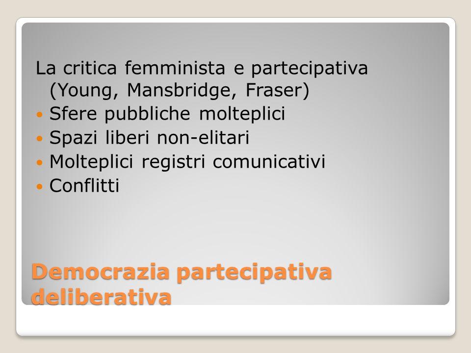 Democrazia partecipativa deliberativa La critica femminista e partecipativa (Young, Mansbridge, Fraser) Sfere pubbliche molteplici Spazi liberi non-el