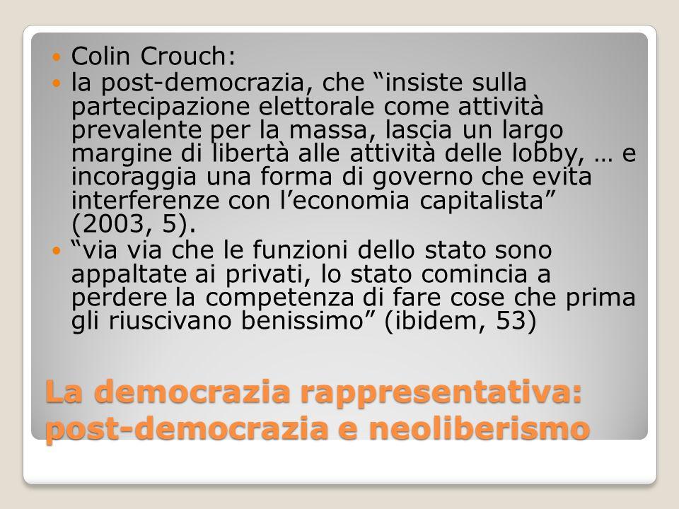 La democrazia rappresentativa: post-democrazia e neoliberismo Colin Crouch: la post-democrazia, che insiste sulla partecipazione elettorale come attiv