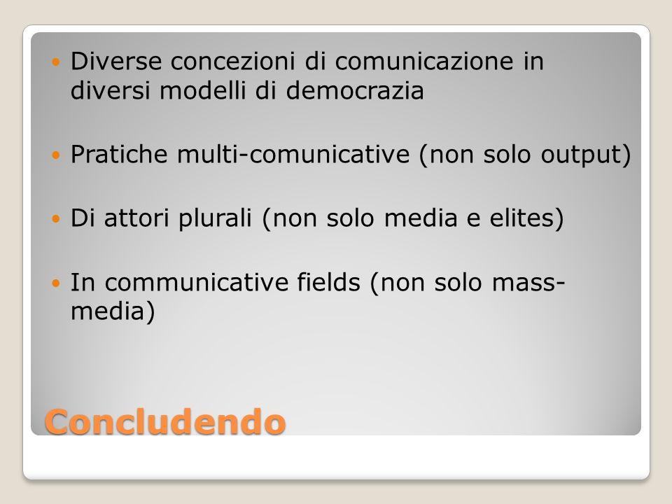 Concludendo Diverse concezioni di comunicazione in diversi modelli di democrazia Pratiche multi-comunicative (non solo output) Di attori plurali (non