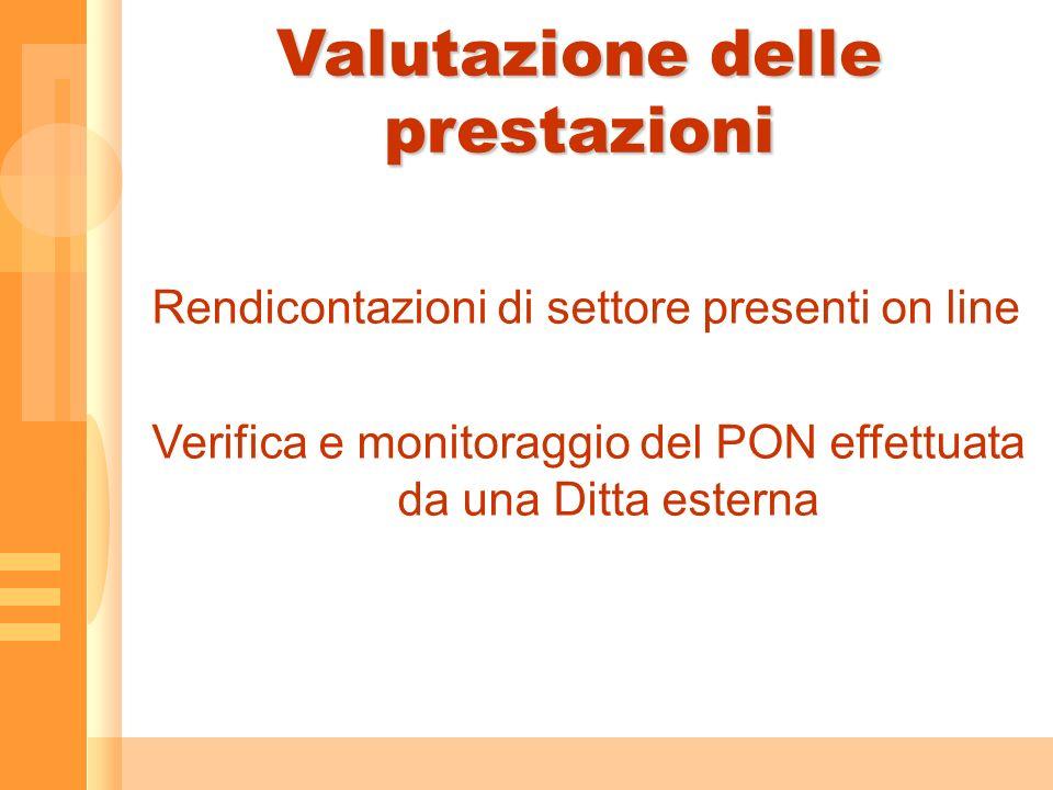 Valutazione delle prestazioni Rendicontazioni di settore presenti on line Verifica e monitoraggio del PON effettuata da una Ditta esterna