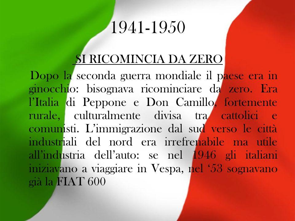 1941-1950 SI RICOMINCIA DA ZERO Dopo la seconda guerra mondiale il paese era in ginocchio: bisognava ricominciare da zero.