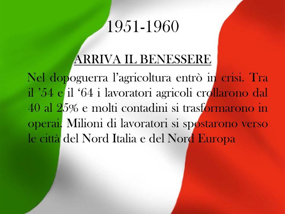 1951-1960 ARRIVA IL BENESSERE Nel dopoguerra lagricoltura entrò in crisi.