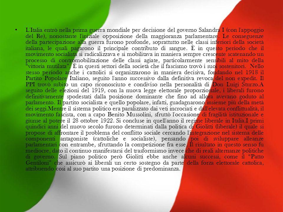 L Italia entrò nella prima guerra mondiale per decisione del governo Salandra I (con l appoggio del Re), nonostante l iniziale opposizione della maggioranza parlamentare.