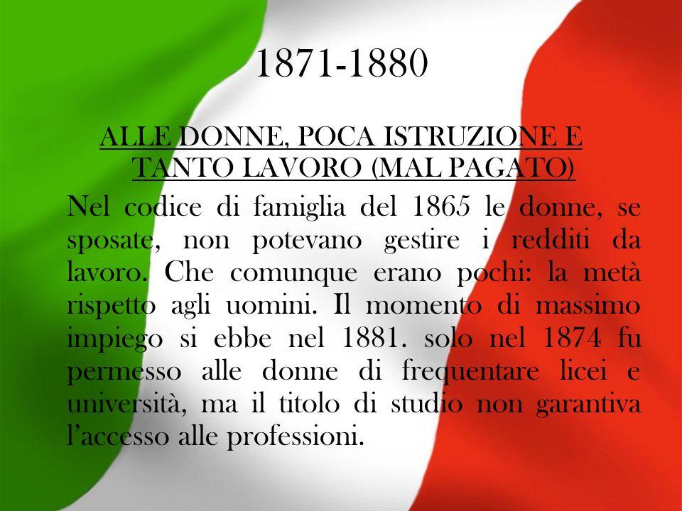 1871-1880 ALLE DONNE, POCA ISTRUZIONE E TANTO LAVORO (MAL PAGATO) Nel codice di famiglia del 1865 le donne, se sposate, non potevano gestire i redditi da lavoro.
