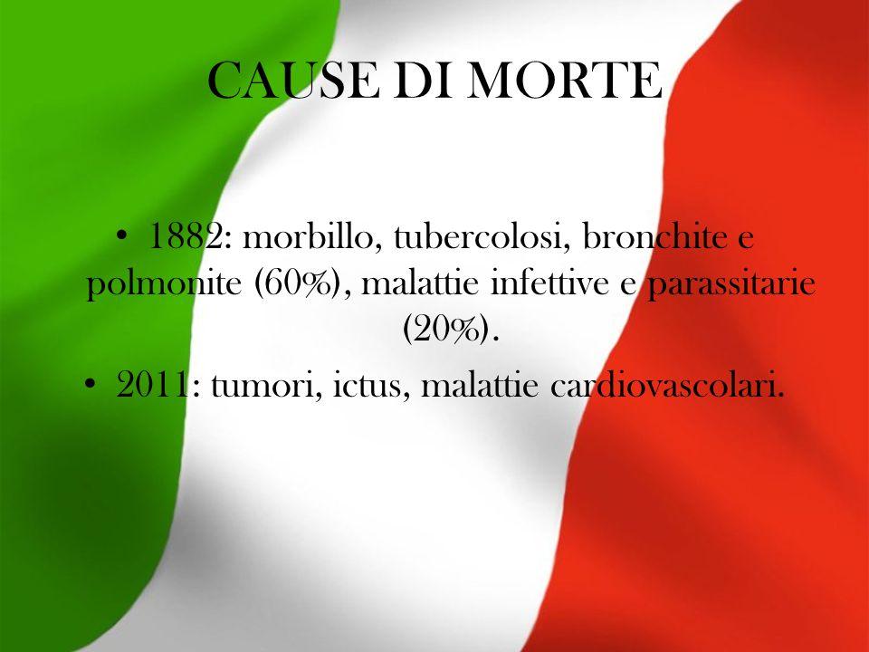 CAUSE DI MORTE 1882: morbillo, tubercolosi, bronchite e polmonite (60%), malattie infettive e parassitarie (20%).