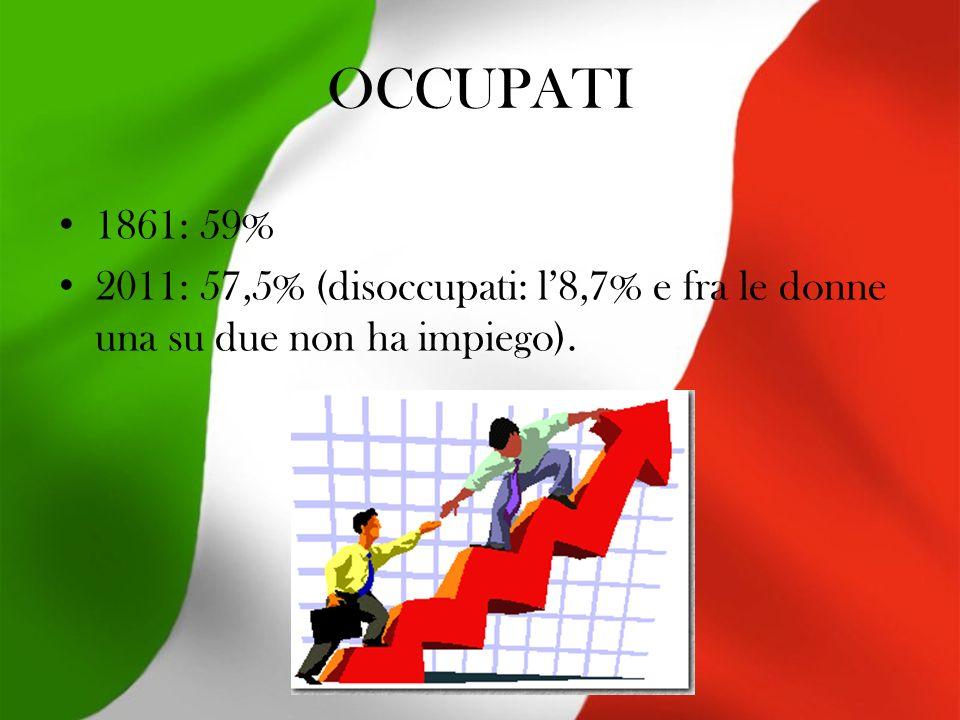 OCCUPATI 1861: 59% 2011: 57,5% (disoccupati: l8,7% e fra le donne una su due non ha impiego).