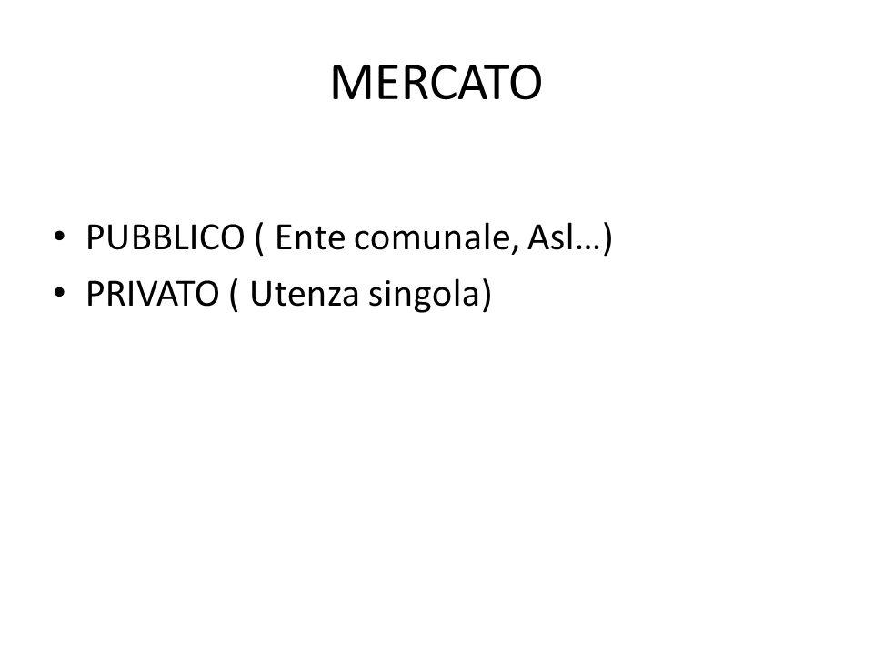MERCATO PUBBLICO ( Ente comunale, Asl…) PRIVATO ( Utenza singola)