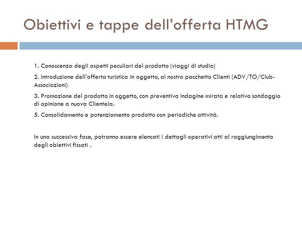 Obiettivi e tappe dellofferta HTMG 1. Conoscenza degli aspetti peculiari del prodotto (viaggi di studio) 2. Introduzione dellofferta turistica in ogge