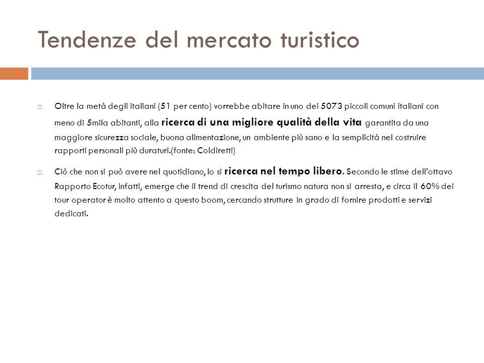 Tendenze del mercato turistico Oltre la metà degli italiani (51 per cento) vorrebbe abitare in uno dei 5073 piccoli comuni italiani con meno di 5mila