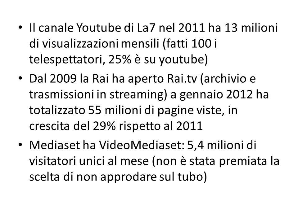 Il canale Youtube di La7 nel 2011 ha 13 milioni di visualizzazioni mensili (fatti 100 i telespettatori, 25% è su youtube) Dal 2009 la Rai ha aperto Rai.tv (archivio e trasmissioni in streaming) a gennaio 2012 ha totalizzato 55 milioni di pagine viste, in crescita del 29% rispetto al 2011 Mediaset ha VideoMediaset: 5,4 milioni di visitatori unici al mese (non è stata premiata la scelta di non approdare sul tubo)
