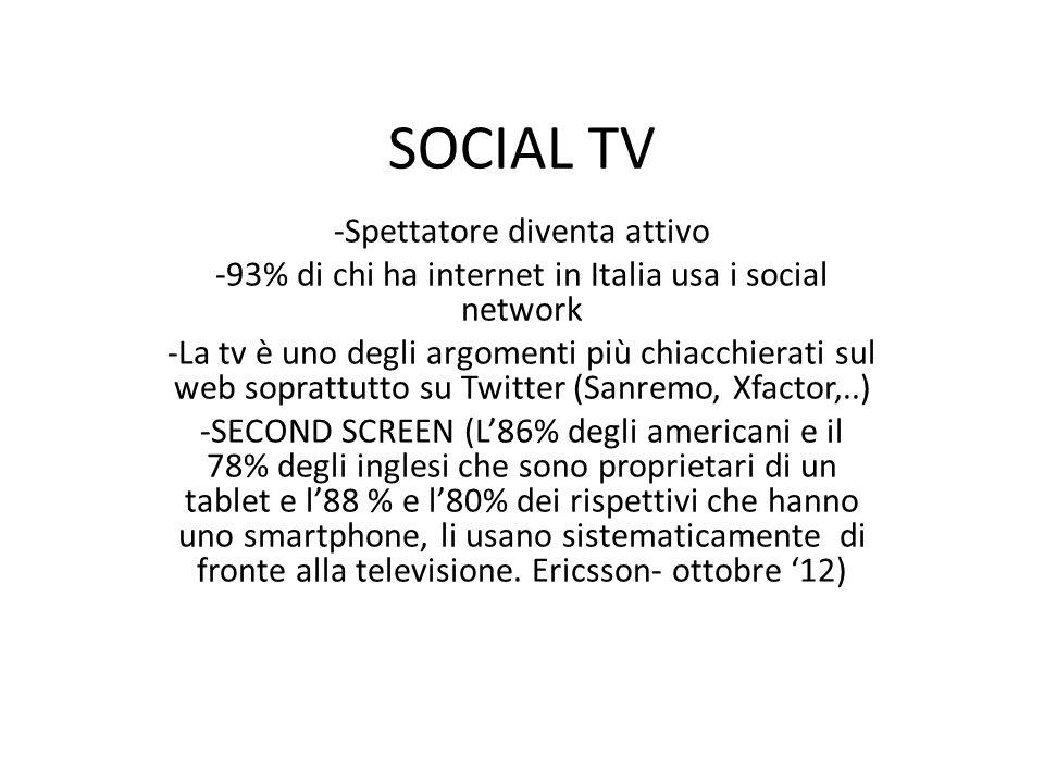 SOCIAL TV -Spettatore diventa attivo -93% di chi ha internet in Italia usa i social network -La tv è uno degli argomenti più chiacchierati sul web soprattutto su Twitter (Sanremo, Xfactor,..) -SECOND SCREEN (L86% degli americani e il 78% degli inglesi che sono proprietari di un tablet e l88 % e l80% dei rispettivi che hanno uno smartphone, li usano sistematicamente di fronte alla televisione.