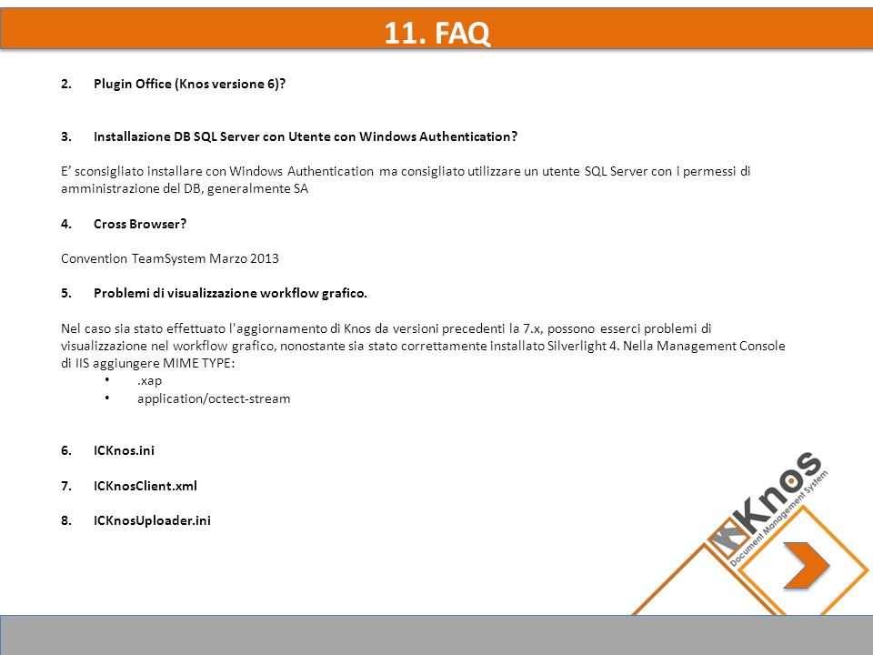11. FAQ 2.Plugin Office (Knos versione 6).
