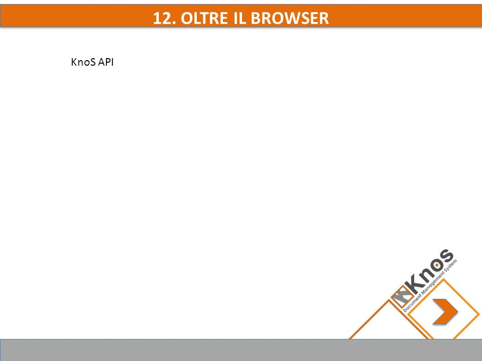 12. OLTRE IL BROWSER KnoS API