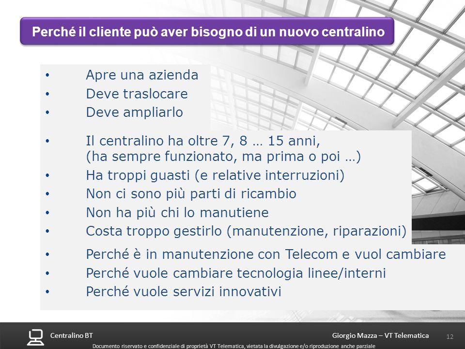 Centralino BT 12 Giorgio Mazza – VT Telematica Documento riservato e confidenziale di proprietà VT Telematica, vietata la divulgazione e/o riproduzion