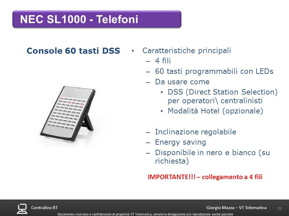 Centralino BT 22 Giorgio Mazza – VT Telematica Documento riservato e confidenziale di proprietà VT Telematica, vietata la divulgazione e/o riproduzion