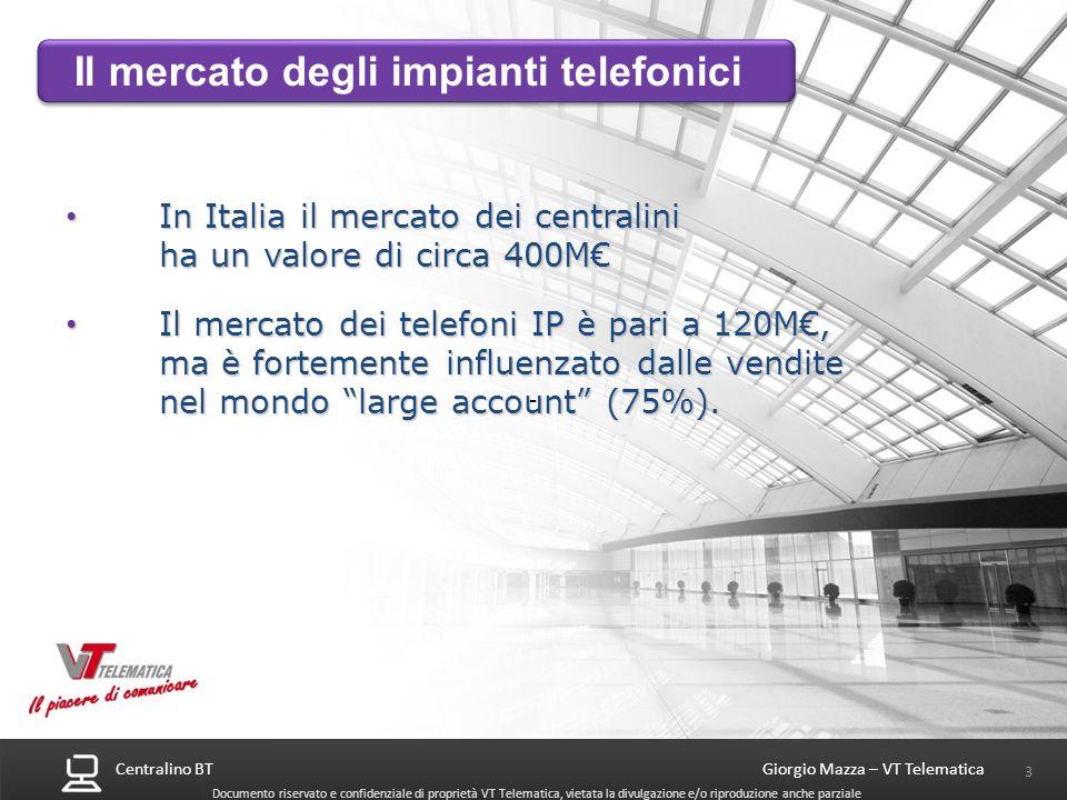 Centralino BT 24 Giorgio Mazza – VT Telematica Documento riservato e confidenziale di proprietà VT Telematica, vietata la divulgazione e/o riproduzione anche parziale Montabile a rack 2 unità rack ogni chassis NEC SV8100