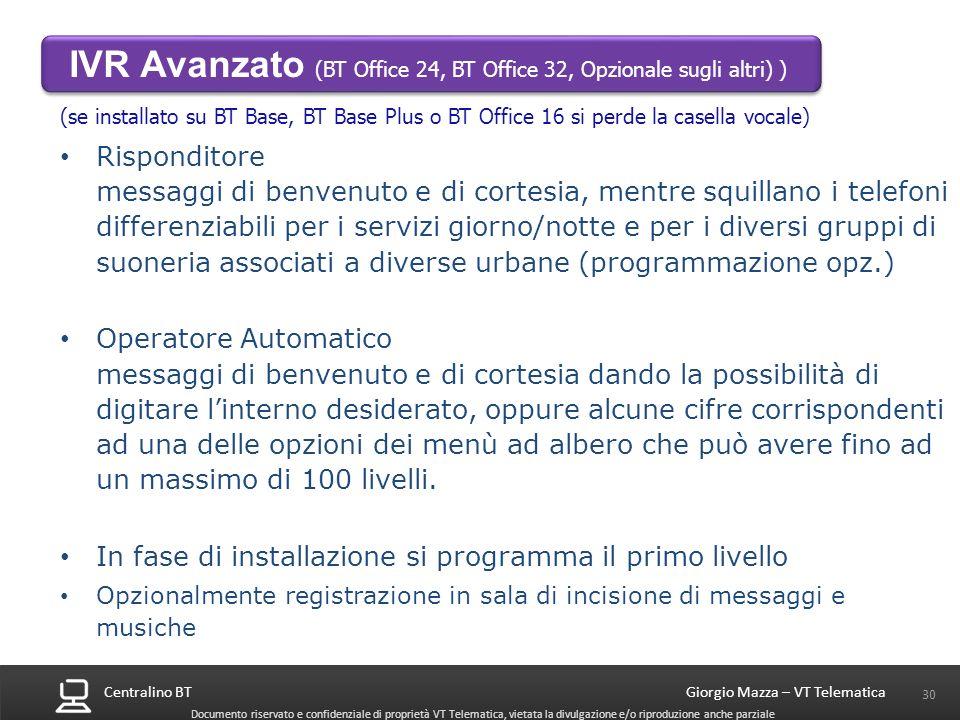 Centralino BT 30 Giorgio Mazza – VT Telematica Documento riservato e confidenziale di proprietà VT Telematica, vietata la divulgazione e/o riproduzion