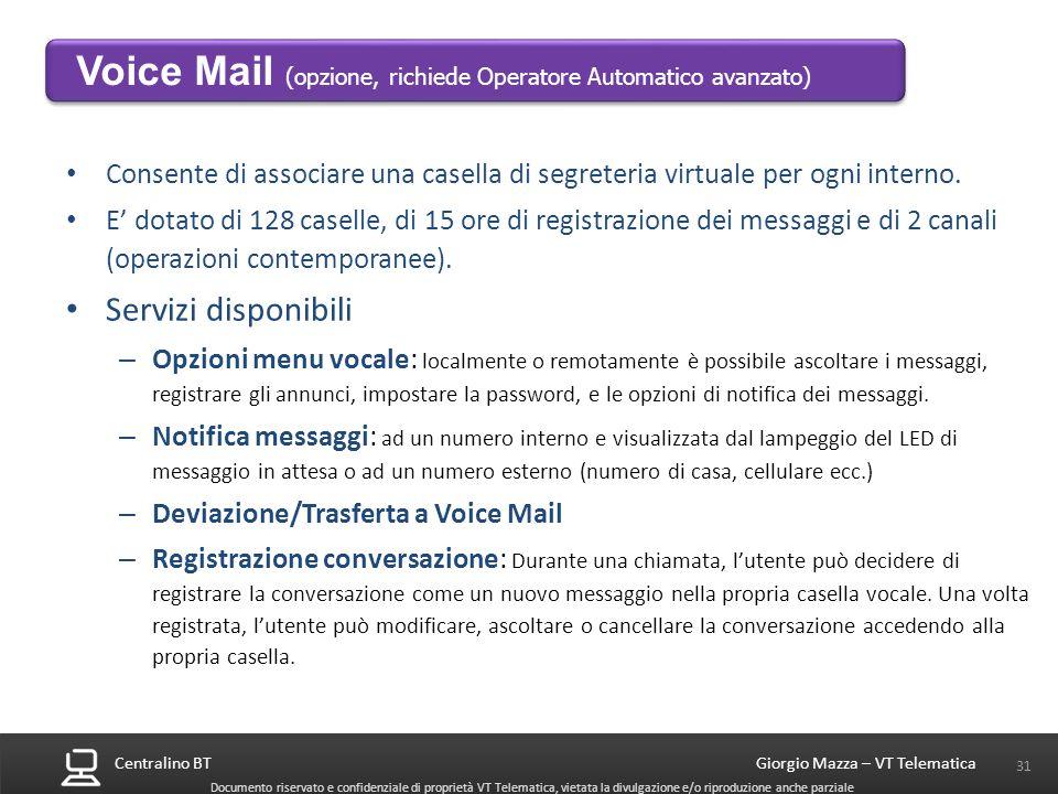 Centralino BT 31 Giorgio Mazza – VT Telematica Documento riservato e confidenziale di proprietà VT Telematica, vietata la divulgazione e/o riproduzion