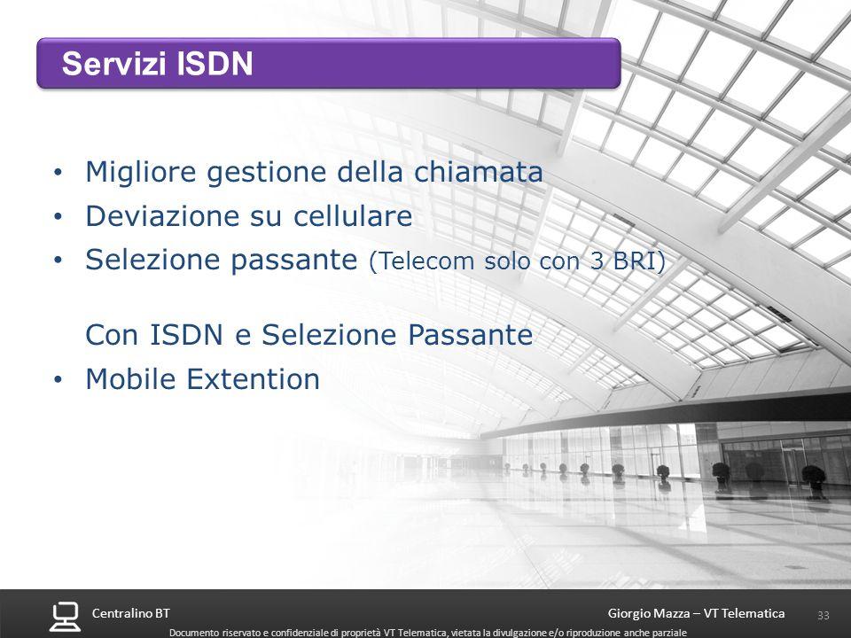 Centralino BT 33 Giorgio Mazza – VT Telematica Documento riservato e confidenziale di proprietà VT Telematica, vietata la divulgazione e/o riproduzion