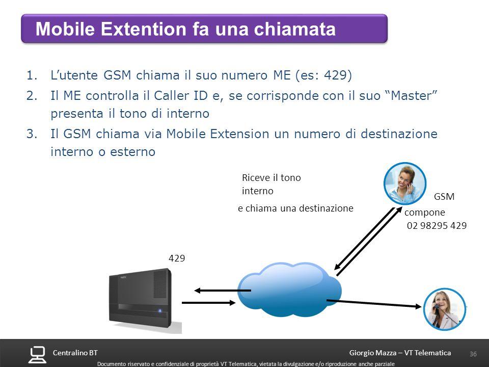 Centralino BT 36 Giorgio Mazza – VT Telematica Documento riservato e confidenziale di proprietà VT Telematica, vietata la divulgazione e/o riproduzion