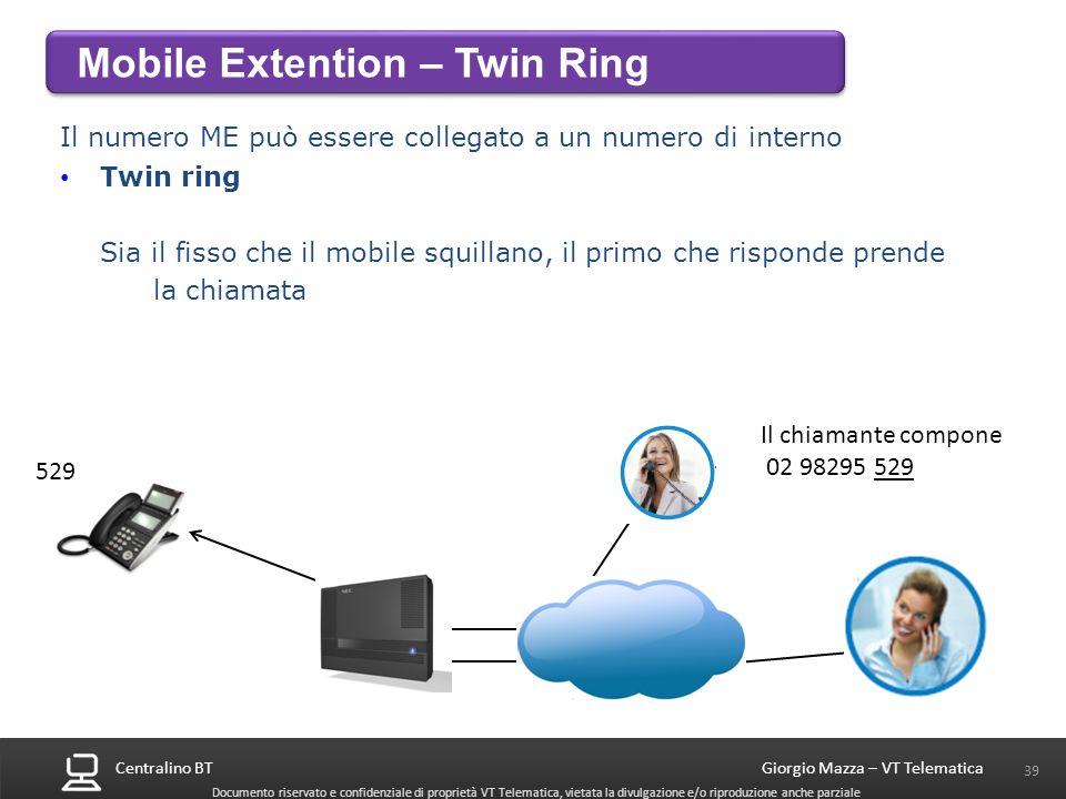 Centralino BT 39 Giorgio Mazza – VT Telematica Documento riservato e confidenziale di proprietà VT Telematica, vietata la divulgazione e/o riproduzion