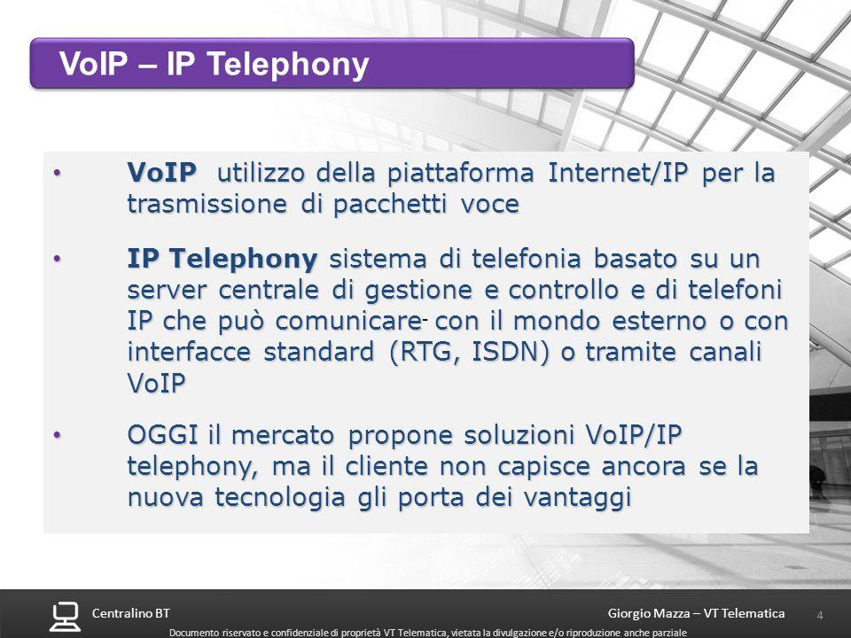 Centralino BT 25 Giorgio Mazza – VT Telematica Documento riservato e confidenziale di proprietà VT Telematica, vietata la divulgazione e/o riproduzione anche parziale 2 configurazioni (preliminare) – 2 Armadi con totale 11 slot scheda Risponditore/Operatore automatico avanzato 1 PRI da 15/30 canali 48 interni (16 digitali+32 analogici 5 caselle VoiceMail) 96 interni (32 digitali+64 analogici 15 caselle VoiceMail) NEC SV8100