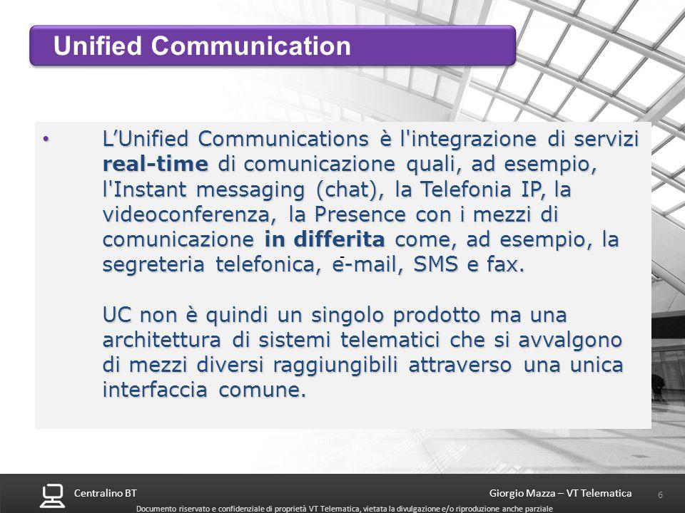 Centralino BT 6 Giorgio Mazza – VT Telematica Documento riservato e confidenziale di proprietà VT Telematica, vietata la divulgazione e/o riproduzione