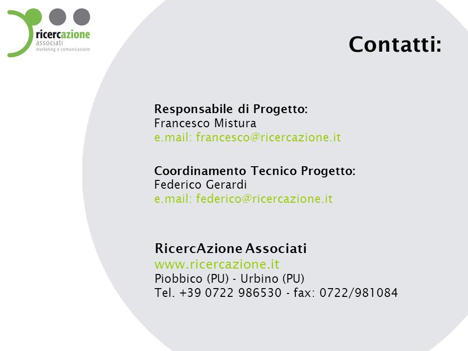 Contatti: RicercAzione Associati www.ricercazione.it Piobbico (PU) - Urbino (PU) Tel. +39 0722 986530 - fax: 0722/981084 Coordinamento Tecnico Progett