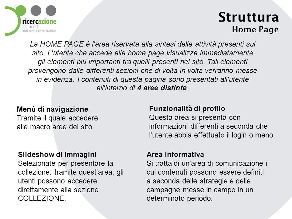 Struttura Home Page La HOME PAGE è l'area riservata alla sintesi delle attività presenti sul sito. L'utente che accede alla home page visualizza immed