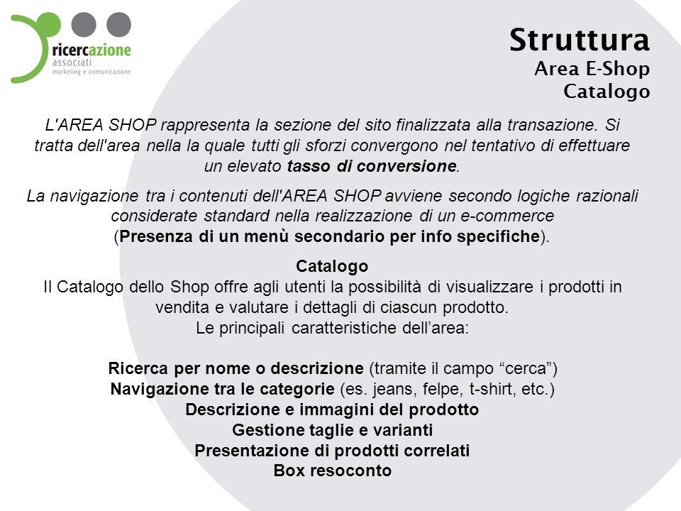 Struttura Area E-Shop Catalogo L'AREA SHOP rappresenta la sezione del sito finalizzata alla transazione. Si tratta dell'area nella la quale tutti gli