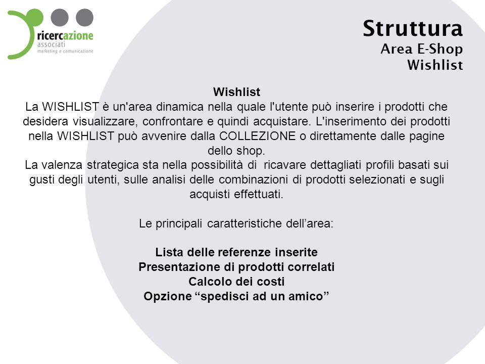 Struttura Area E-Shop Wishlist La WISHLIST è un'area dinamica nella quale l'utente può inserire i prodotti che desidera visualizzare, confrontare e qu