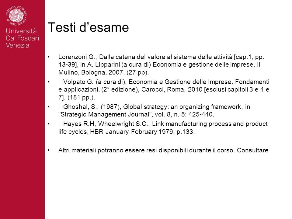 Testi desame Lorenzoni G., Dalla catena del valore al sistema delle attività [cap.1, pp.