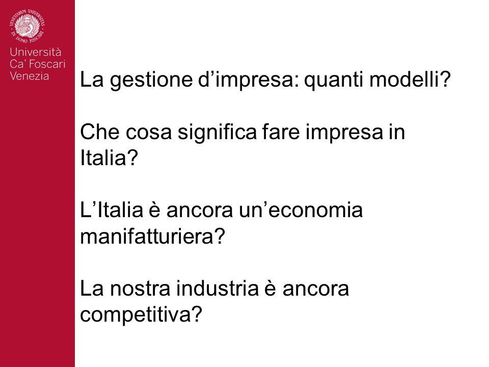 La gestione dimpresa: quanti modelli. Che cosa significa fare impresa in Italia.