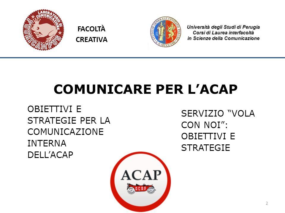 Università degli Studi di Perugia Corsi di Laurea interfacoltà in Scienze della Comunicazione 2 FACOLTÀ CREATIVA COMUNICARE PER LACAP PELACAP OBIETTIV