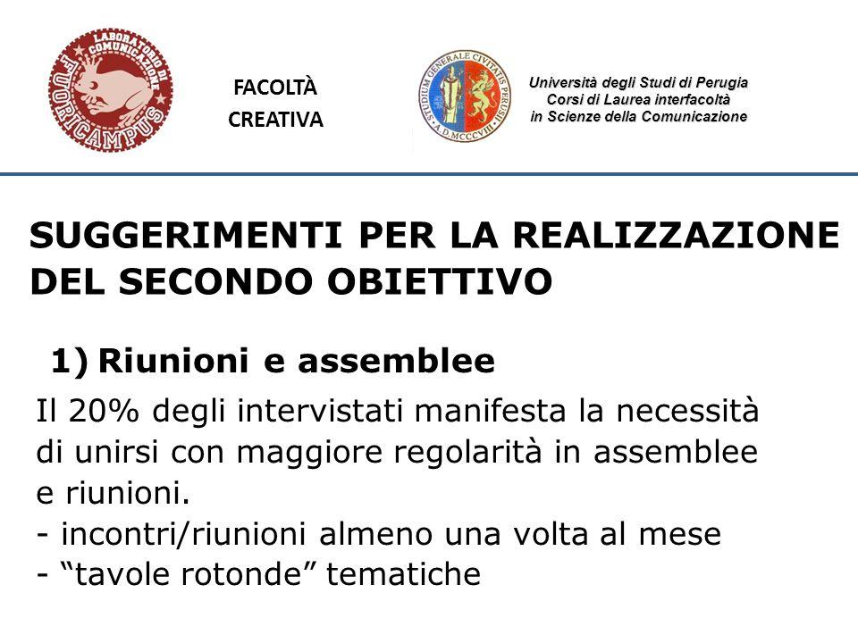 Università degli Studi di Perugia Corsi di Laurea interfacoltà in Scienze della Comunicazione SUGGERIMENTI PER LA REALIZZAZIONE DEL SECONDO OBIETTIVO