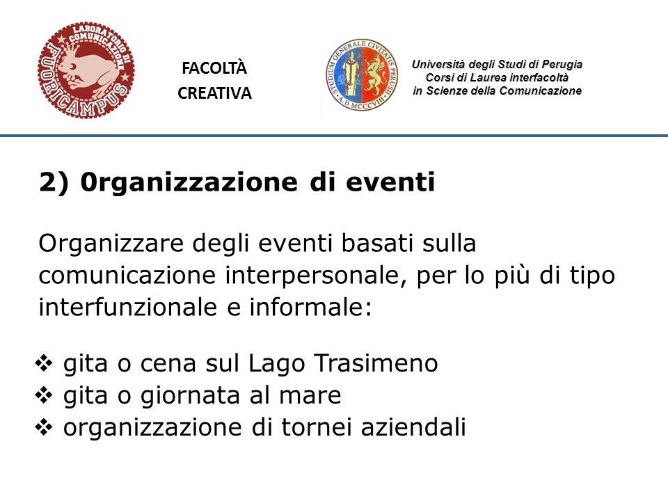 Università degli Studi di Perugia Corsi di Laurea interfacoltà in Scienze della Comunicazione 2) 0rganizzazione di eventi Organizzare degli eventi bas