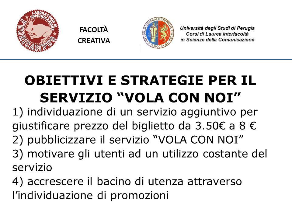 Università degli Studi di Perugia Corsi di Laurea interfacoltà in Scienze della Comunicazione OBIETTIVI E STRATEGIE PER IL SERVIZIO VOLA CON NOI 1) in