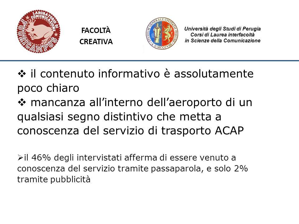 Università degli Studi di Perugia Corsi di Laurea interfacoltà in Scienze della Comunicazione il contenuto informativo è assolutamente poco chiaro man