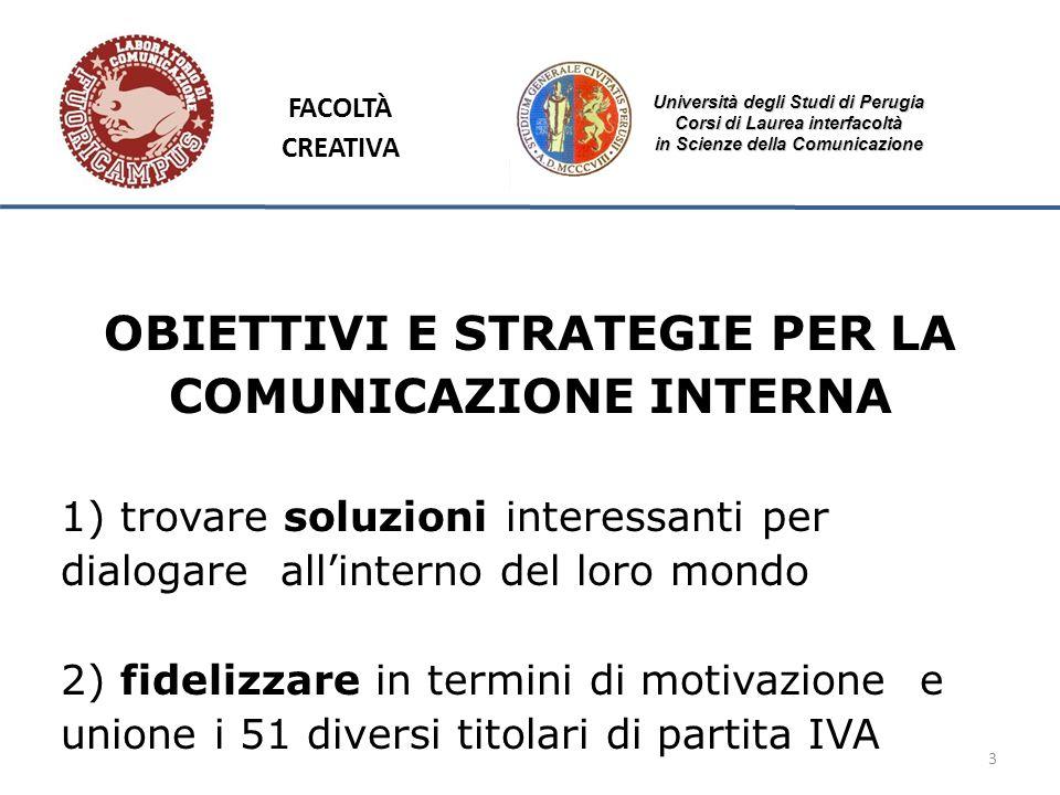 3 Università degli Studi di Perugia Corsi di Laurea interfacoltà in Scienze della Comunicazione OBIETTIVI E STRATEGIE PER LA COMUNICAZIONE INTERNA 1)