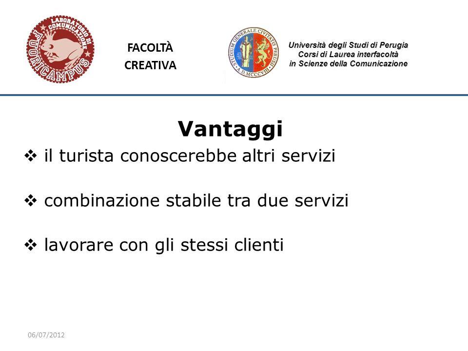 06/07/2012 Università degli Studi di Perugia Corsi di Laurea interfacoltà in Scienze della Comunicazione Vantaggi il turista conoscerebbe altri serviz