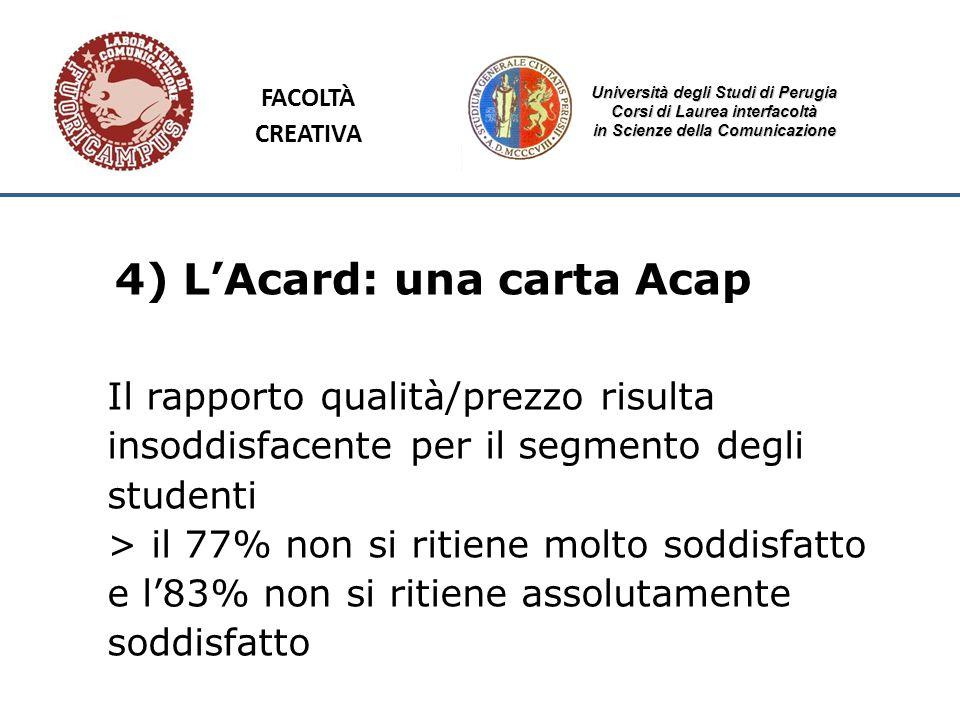 Università degli Studi di Perugia Corsi di Laurea interfacoltà in Scienze della Comunicazione 4) LAcard: una carta Acap Il rapporto qualità/prezzo ris