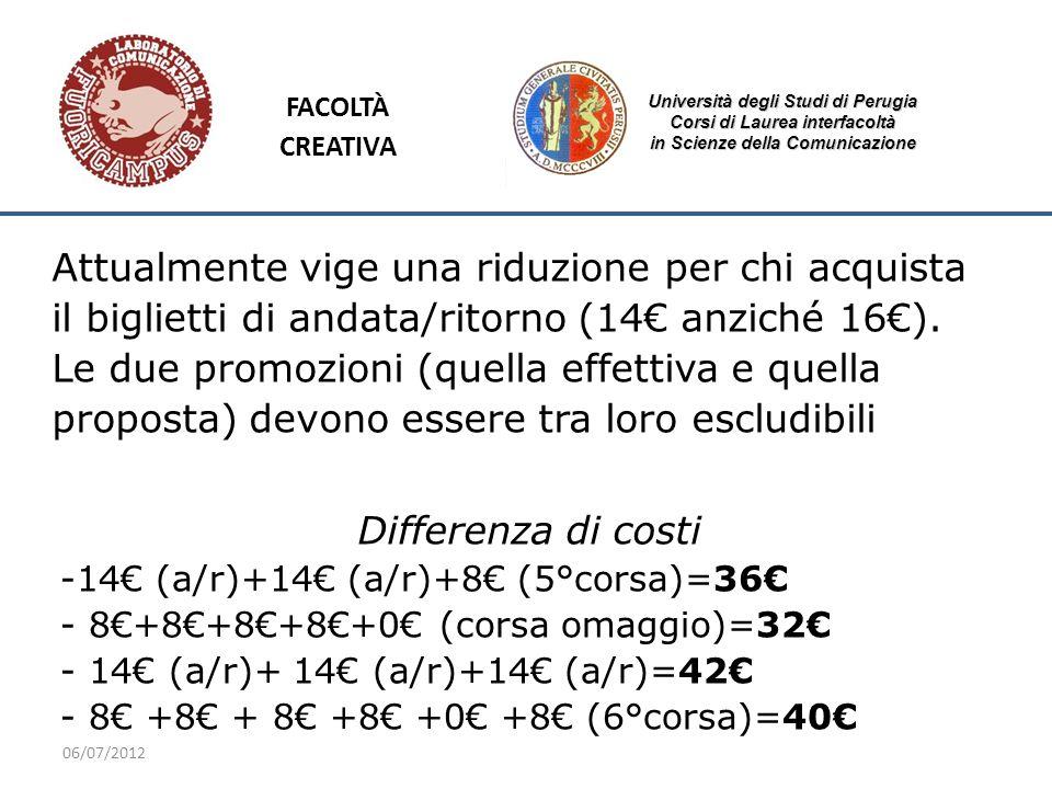 06/07/2012 Università degli Studi di Perugia Corsi di Laurea interfacoltà in Scienze della Comunicazione Attualmente vige una riduzione per chi acquis