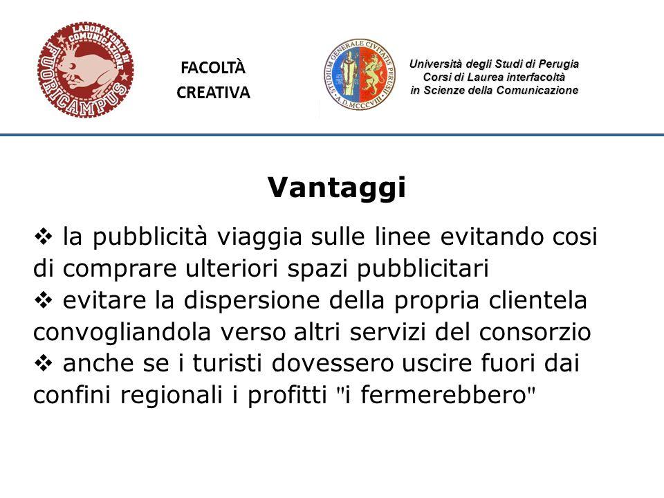 Università degli Studi di Perugia Corsi di Laurea interfacoltà in Scienze della Comunicazione Vantaggi la pubblicità viaggia sulle linee evitando cosi