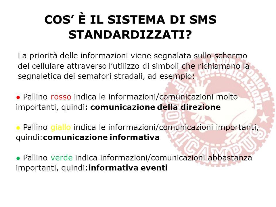 COS È IL SISTEMA DI SMS STANDARDIZZATI? La priorità delle informazioni viene segnalata sullo schermo del cellulare attraverso lutilizzo di simboli che