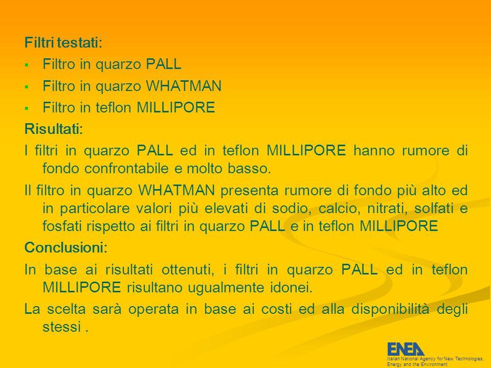 Italian National Agency for New Technologies, Energy and the Environment Postazione LIDAR Predisposte: 2 prese interbloccate per spine GEWISS (2P+T da 16 A) 1 connessione rete internet 1 connessione rete acqua Postazione CHIMICI Avviata la gara per la predisposizione di 1 quadro a parete IP65 da 36 moduli completo di: 1 magnetotermico 50 A (11 kW) - CONTAINER 1 magnetotermico 40 A (8,8 kW) - MEZZO MOBILE 2 magnetotermici 32 A (7 kW) - 2 FAI, 2 ANDERSEN, 1 GRIM 1 magnetotermico 16 A (3,5 kW) - SODAR Adeguamento infrastrutturale