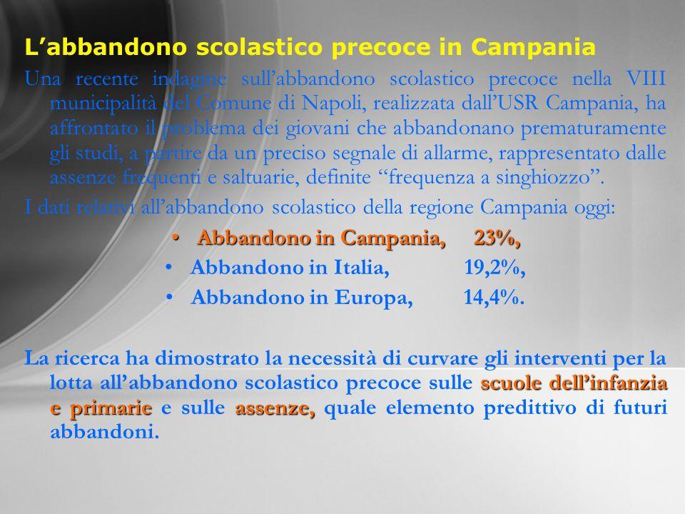 Labbandono scolastico precoce in Campania Una recente indagine sullabbandono scolastico precoce nella VIII municipalità del Comune di Napoli, realizza