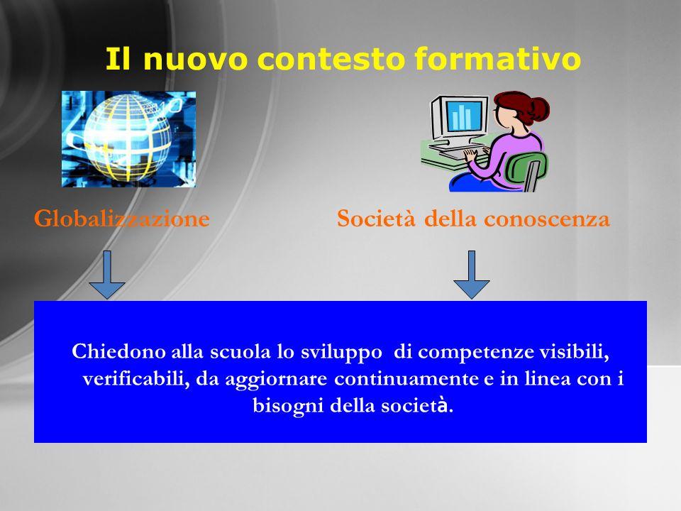 Il nuovo contesto formativo Chiedono alla scuola lo sviluppo di competenze visibili, verificabili, da aggiornare continuamente e in linea con i bisogni della societ à.