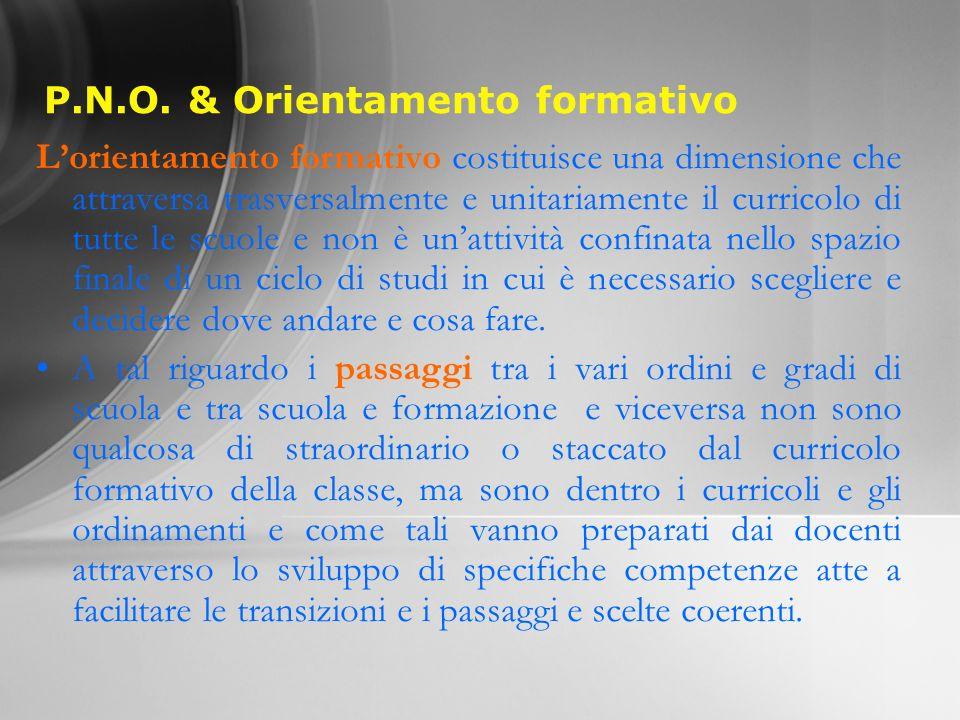 P.N.O. & Orientamento formativo Lorientamento formativo costituisce una dimensione che attraversa trasversalmente e unitariamente il curricolo di tutt