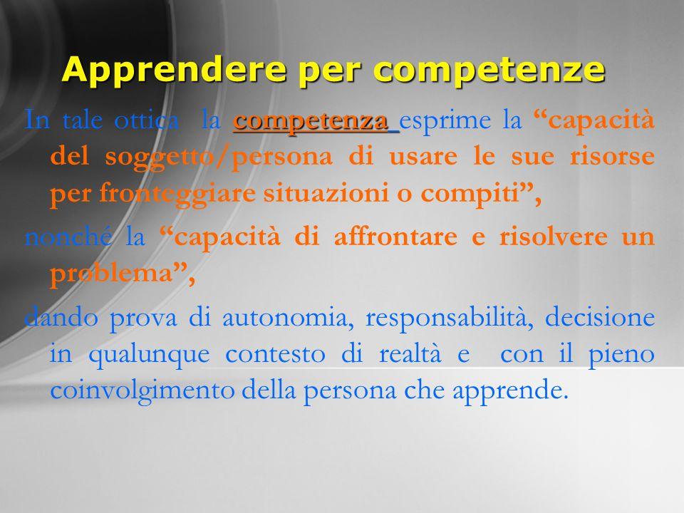 Apprendere per competenze competenza In tale ottica la competenza esprime la capacità del soggetto/persona di usare le sue risorse per fronteggiare si