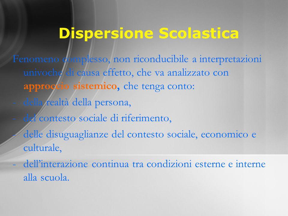 Dispersione Scolastica Fenomeno complesso, non riconducibile a interpretazioni univoche di causa effetto, che va analizzato con approccio sistemico, c
